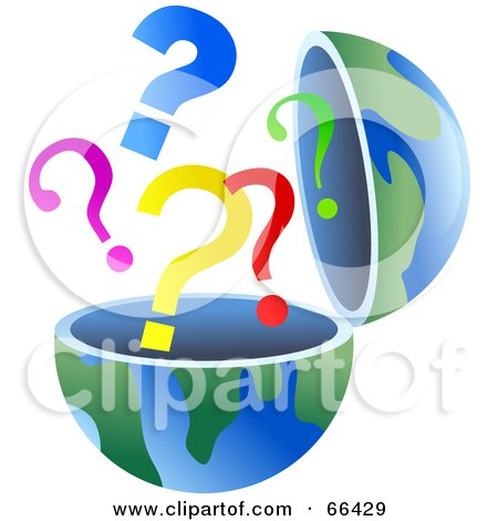 Royalty-Free (RF) Clipart Illustration of an Open Globe With Question Marks by Prawny