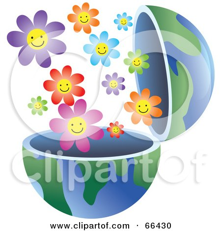 Royalty-Free (RF) Clipart Illustration of an Open Globe With Flowers by Prawny