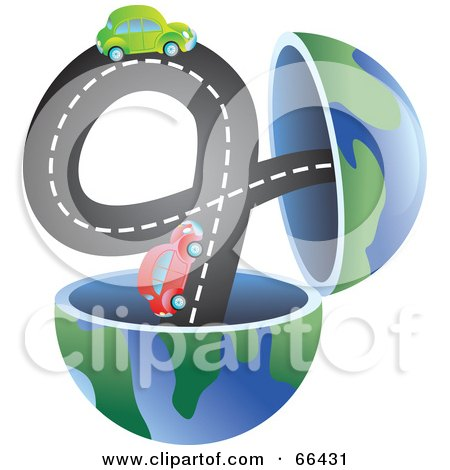 Royalty-Free (RF) Clipart Illustration of an Open Globe With Cars on a Road by Prawny