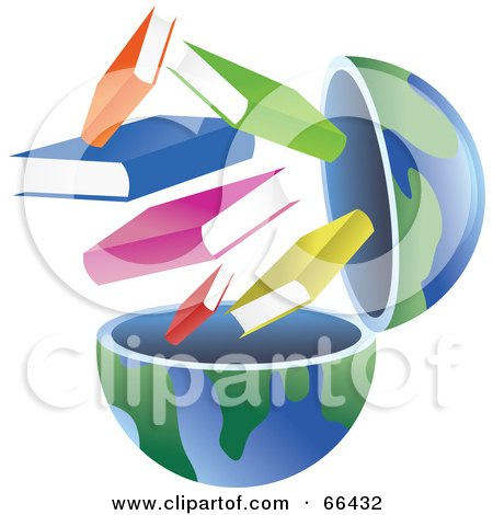 Royalty-Free (RF) Clipart Illustration of an Open Globe With Books by Prawny