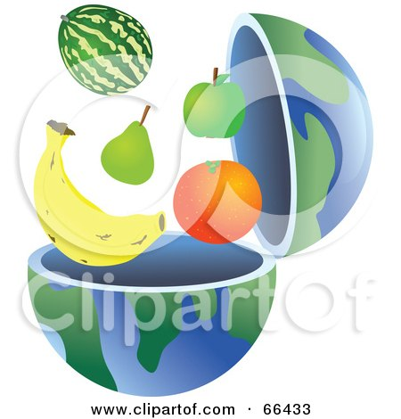 Royalty-Free (RF) Clipart Illustration of an Open Globe With Healthy Fruit by Prawny