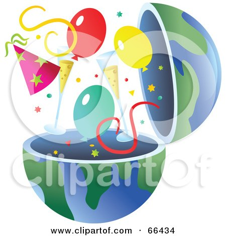 Royalty-Free (RF) Clipart Illustration of an Open Globe With Party Items by Prawny