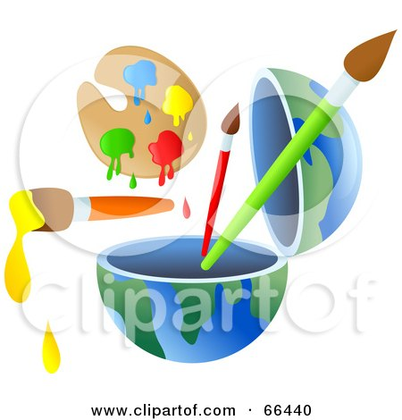 Royalty-Free (RF) Clipart Illustration of an Open Globe With Paint and Brushes by Prawny