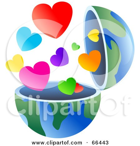 Royalty-Free (RF) Clipart Illustration of an Open Globe With Hearts by Prawny