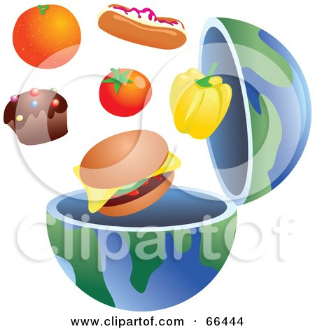 Royalty-Free (RF) Clipart Illustration of an Open Globe With Junk Food by Prawny