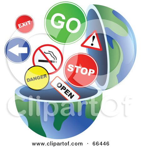 Royalty-Free (RF) Clipart Illustration of an Open Globe With Signs by Prawny