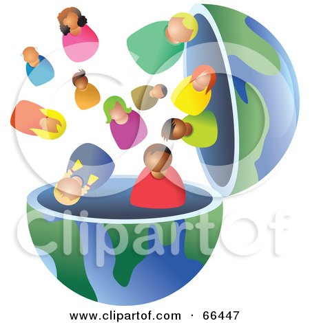 Royalty-Free (RF) Clipart Illustration of an Open Globe With Diverse People by Prawny