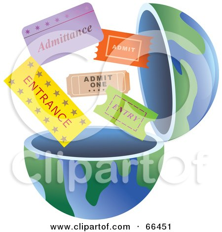 Royalty-Free (RF) Clipart Illustration of an Open Globe With Tickets by Prawny