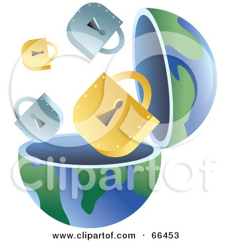 Royalty-Free (RF) Clipart Illustration of an Open Globe With Padlocks by Prawny