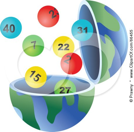 Royalty-Free (RF) Clipart Illustration of an Open Globe With Lottery Balls by Prawny