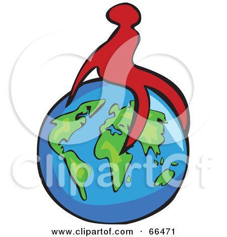 Royalty-Free (RF) Clipart Illustration of a Red Figure Sitting On A Globe by Prawny