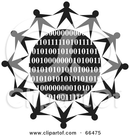 Royalty-Free (RF) Clipart Illustration of a Black And White Globe Of Binary With People by Prawny
