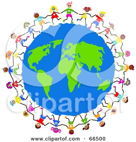 Royalty-Free (RF) Clipart Illustration of Global Kids Circling Earth by Prawny