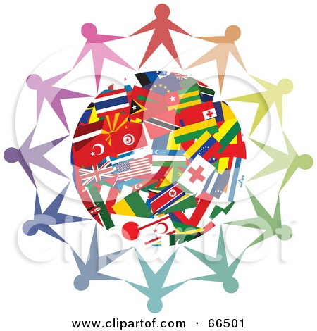 Royalty-Free (RF) Clipart Illustration of a Circle Of People Holding Hands Around A World Flag Globe by Prawny