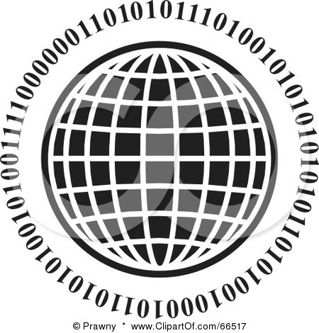 Royalty-Free (RF) Clipart Illustration of a Black And White Wire Globe With Binary by Prawny