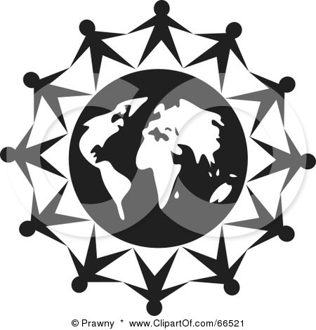 Royalty-Free (RF) Clipart Illustration of a Group Of People Holding Hands Around A Globe - Black And White by Prawny