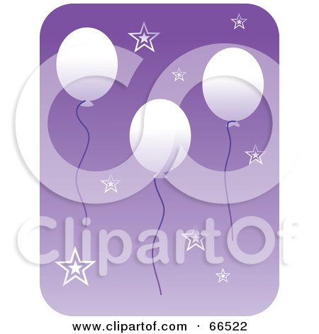 Royalty-Free (RF) Clipart Illustration of Floating White Balloons And Stars Over Purple by Prawny