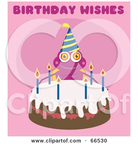 RoyaltyFree RF Clipart Illustration of a Birthday Bug With A Cake