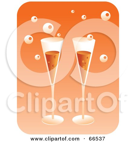 Royalty-Free (RF) Clipart Illustration of Two Champagne Flutes With Bubbles, Over Orange by Prawny