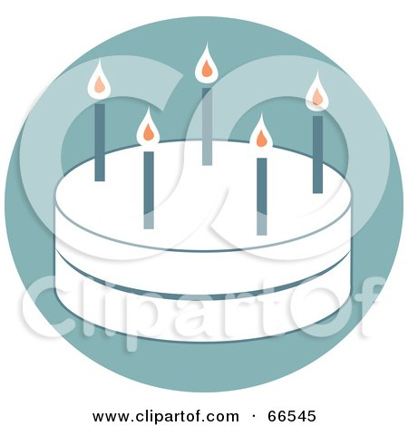 Royalty-Free (RF) Clipart Illustration of a White Two Layer Birthday Cake With Candles On Blue by Prawny