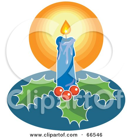 Royalty-Free (RF) Clipart Illustration of a Blue Christmas Candle With Holly by Prawny