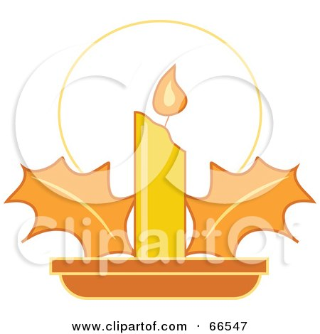 Royalty-Free (RF) Clipart Illustration of a Yellow Christmas Candle With Holly by Prawny