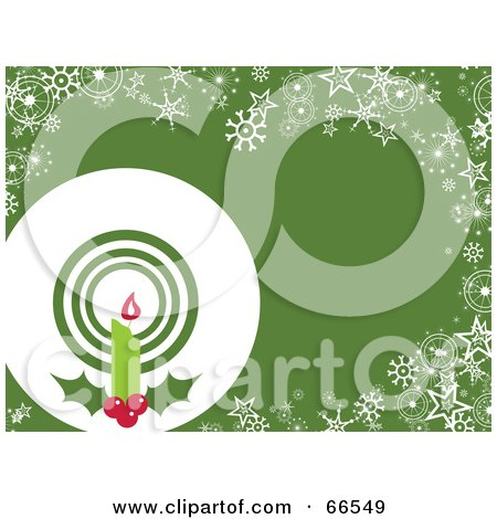 Royalty-Free (RF) Clipart Illustration of a Candle Christmas Background With Snowflakes And Stars On Green by Prawny