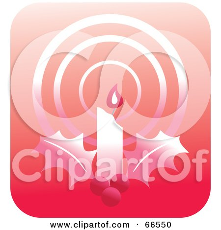 Royalty-Free (RF) Clipart Illustration of a Glowing Red Christmas Candle And Holly by Prawny