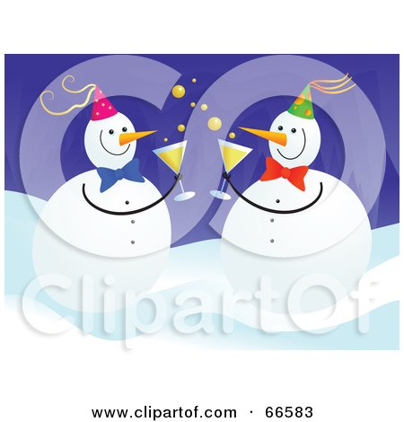Royalty-Free (RF) Clipart Illustration of Party Snowmen Drinking Champagne by Prawny