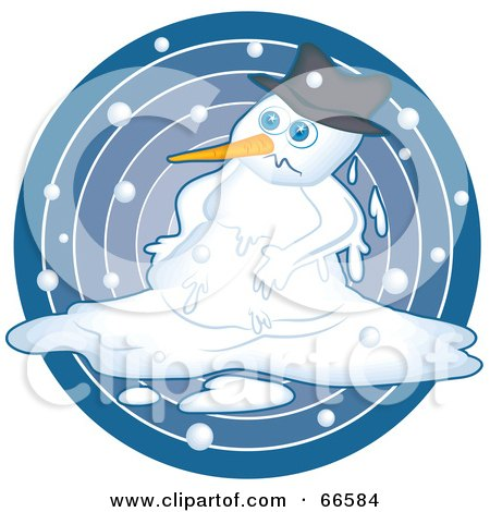 Royalty-Free (RF) Clipart Illustration of a Sad Snowman Melting Over A Blue Circle by Prawny