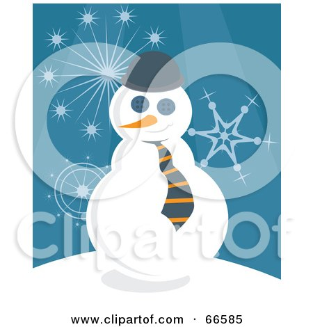 Royalty-Free (RF) Clipart Illustration of a Business Snowman Over A Blue Background With Snowflakes by Prawny
