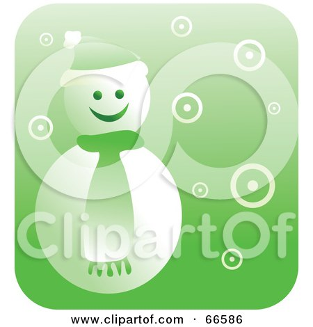 Royalty-Free (RF) Clipart Illustration of a Retro Green Snowman by Prawny