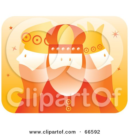 Royalty-Free (RF) Clipart Illustration of The Three Kings In Orange by Prawny