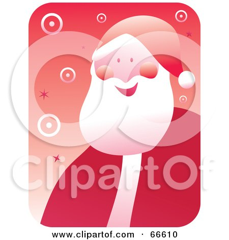 Royalty-Free (RF) Clipart Illustration of a Retro Jolly Santa With Circles On Red by Prawny