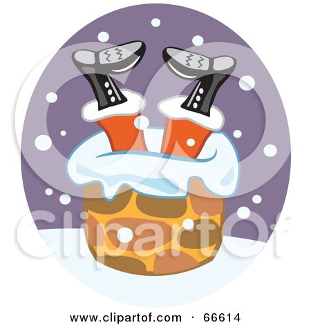 Royalty-Free (RF) Clipart Illustration of Santa Stuck Upside Down In A Chimney by Prawny