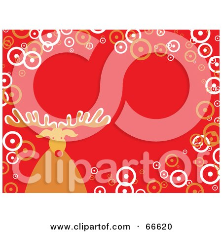 Royalty-Free (RF) Clipart Illustration of a Rudolph Christmas Background With Circles On Orange by Prawny