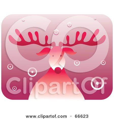 Royalty-Free (RF) Clipart Illustration of a Retro Red Rudolph The Red Nosed Reindeer With Circle Snow by Prawny