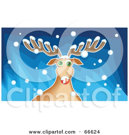 Royalty-Free (RF) Clipart Illustration of Rudolph The Red Nosed Reindeer Playing In The Snow by Prawny