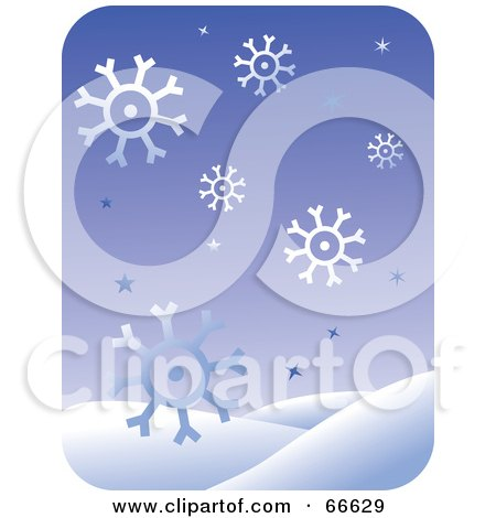 Royalty-Free (RF) Clipart Illustration of a Purple Snowflake And Snowy Hill Background by Prawny