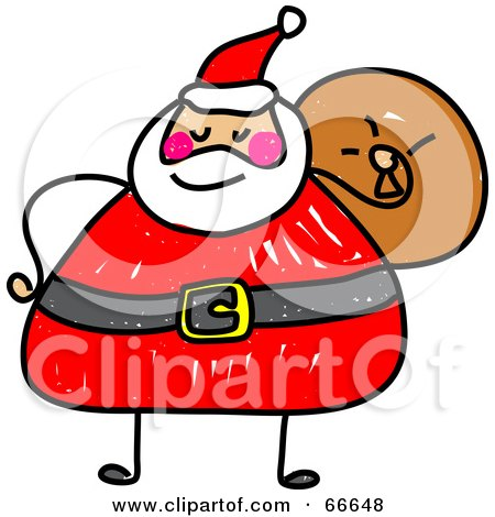 Royalty-Free (RF) Clipart Illustration of a Sketched Chubby Santa by Prawny