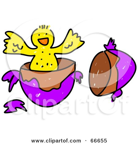 Royalty-Free (RF) Clipart Illustration of a Sketched Easter Chick Hatching by Prawny