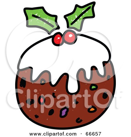 Royalty-Free (RF) Clipart Illustration of Sketched Christmas Pudding by Prawny