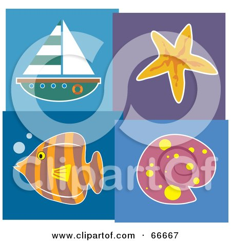 Royalty-Free (RF) Clipart Illustration of a Seaside Collage Of A Sailboat, Starfish, Fish And Shell by Prawny