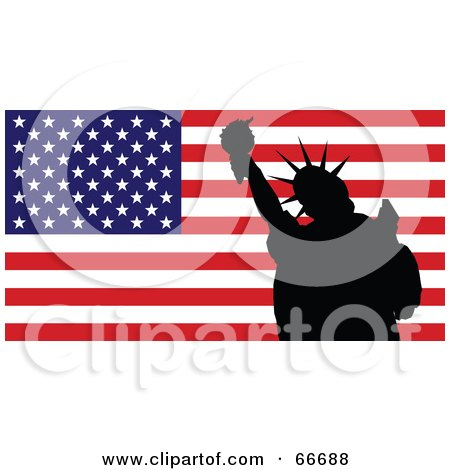 Royalty-Free (RF) Clipart Illustration of a Silhouetted Statue Of Liberty In Front Of An American Flag by Prawny
