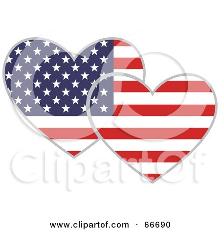 Royalty-Free (RF) Clipart Illustration of Two American Hearts by Prawny