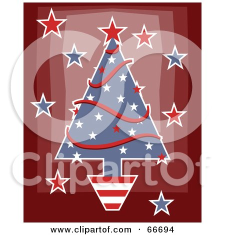 Royalty-Free (RF) Clipart Illustration of a Patriotic Christmas Tree With Stars And Garlands On Red by Prawny