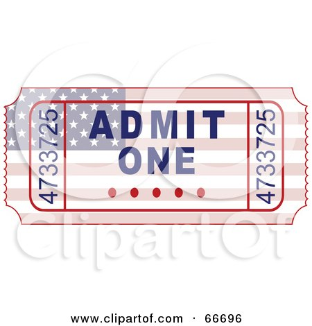 Royalty-Free (RF) Clipart Illustration of an American Admit One Ticket by Prawny