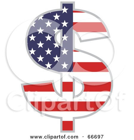 Royalty-Free (RF) Clipart Illustration of an American Dollar Symbol by Prawny