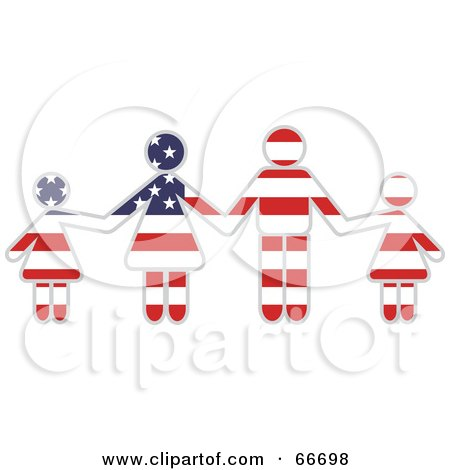 Royalty-Free (RF) Clipart Illustration of an American Family Holding Hands by Prawny