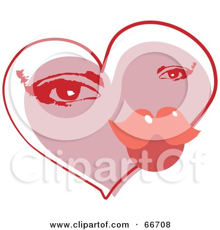Royalty-Free (RF) Clipart Illustration of a Valentine Heart With A Woman's Eyes And Lip Pucker by Prawny